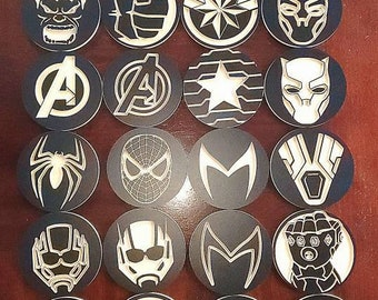 Premium Natural Slate Captain America Symbol Coaster Gift Set Marvel Comic