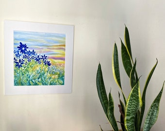 Spring landscape. Blue flowers. Naif art flowers. Original oil painting. Emotional nature landscape. Wall decoration