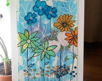 Pastel flowers. Abstract floral painting. Interior decoration. Contemporary painting. Emotional nature. Flowers on a blue background