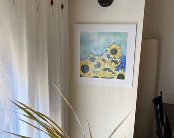 Sunflower field. Original oil painting. Yellow flowers. Wall decoration. Emotional nature