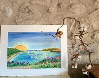 I walk around the sea. Original sea oil paint. Colorful. Wall decoration. Emotional nature. Blue. Round road