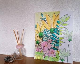 Floral acrylic pastel tones. Floral wall art. Original drawing. Interior decoration