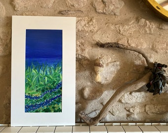 Fragment nightscape. Abstract oil painting. Naif art flowers. Interior decoration. Original Botanical. Blues and greens