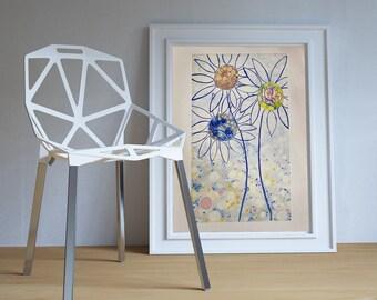 Naif art flowers. Flower garden in blue tones. Abstract floral art. Original oil. Wall decoration. Interior decoration