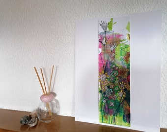 Multicolored garden colorist. Acrylic abstract painting. Original Botanical. Greens, roses and violet. Interior decoration. Sensitive art
