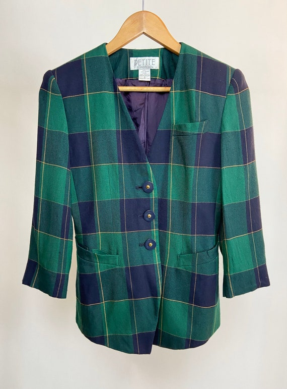 VINTAGE 80's Plaid Jacket in Green and Blue