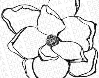 Magnolia Sketch Clipart/ Illustration (Transparent Background PNG)