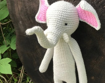 elefant amigurumi toy, crochet elefant, gray elefant stuffed animal toy