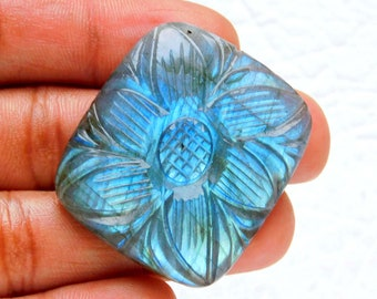 Stunning Natural Blue Fire Labradorite Carving oval Shape Hand Carved Labradorite Gemstone Carving Gemstone Collectible