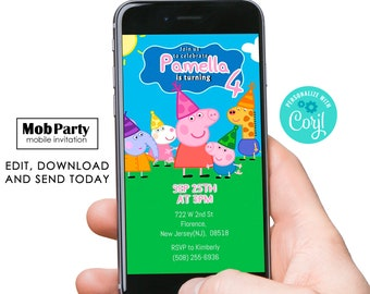 Peppa Pig  electronic invitation, Peppa Pig Birthday mobile Invitation, Digital Peppa Pig Birthday Card email invite, instant download
