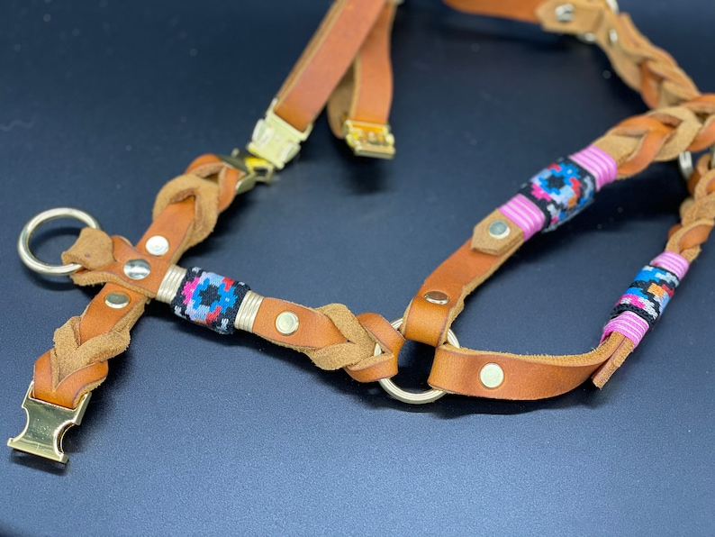 Dog harness  leather  tau dog harness \u2013 fat leather harness with dew leather leash in the set Retro