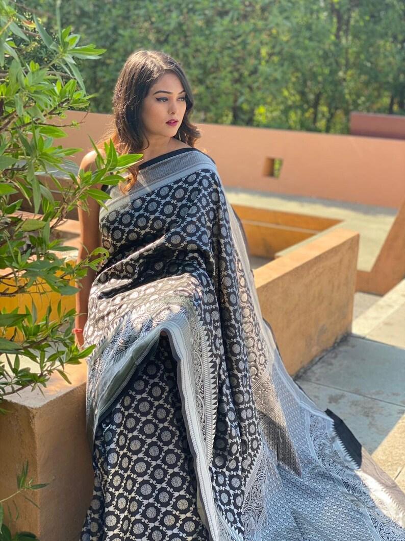 black color traditional banarasi saree for party wear styles sari with blouse Piece saree..