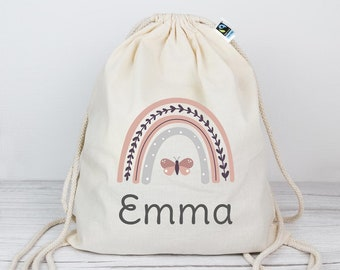 Gym bag in rainbow design and desired name made of organic cotton | Natural colours | Backpack | Sports bag | Laundry bag | Children | Gift