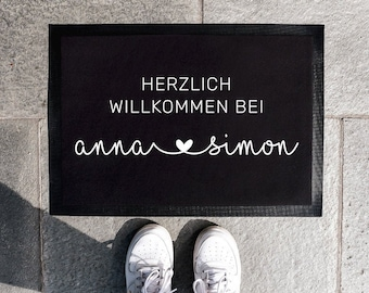 Personalized Doormat | Doormat Family Personalized | Doormat for Couples & Families | Home Port | Heart Design