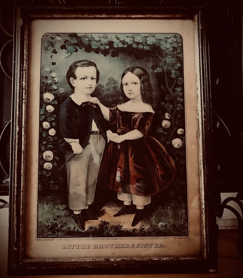 Antique \u201cLittle Brother and Sister\u201d lithograph Victorian 1800\u2019s print family