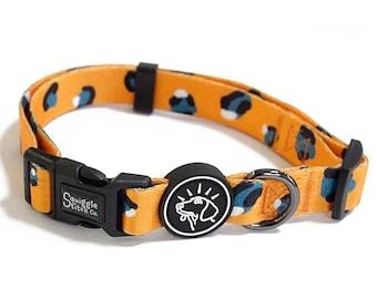 Orange Leopard Print Dog Collar