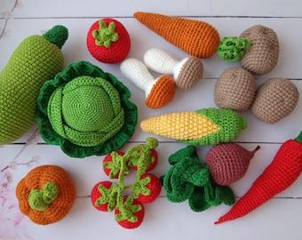 10 pcs crochet vegetables and fruits Crochet play food set pretend play