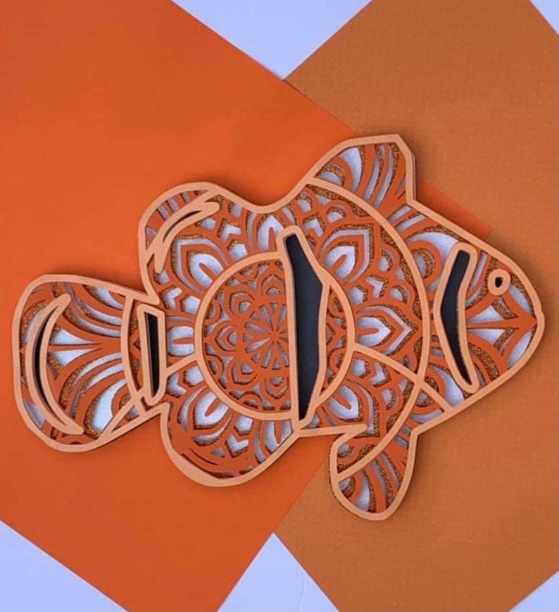 3D Paper Art Layered Paper Art Ocean SVG Art Clown Fish Mandala SVG Cricut Paper Art 3D Clown Fish Shadowbox Clown Fish SVG