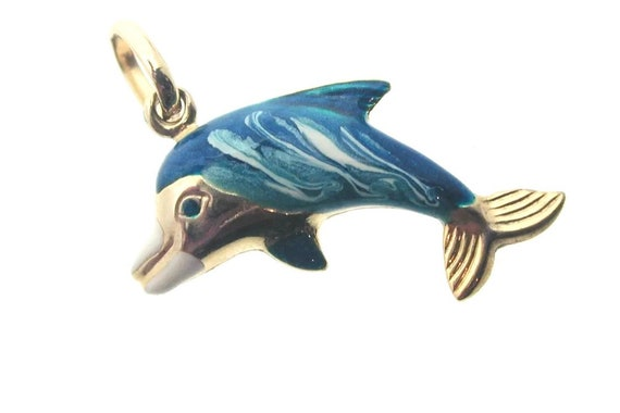 Reversible Dolphin charm . Gold Dolphin charm . Vi
