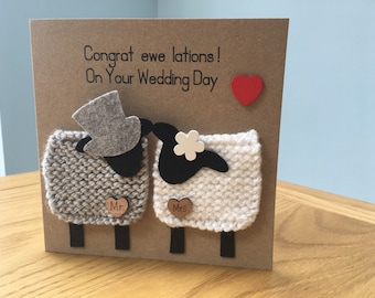 Handmade super cute keepsake wedding, anniversary, engagement, or just because love cards. Can be personalised for colour or greeting.