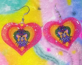 Glitter Jester Furby Rainbow Heart Fishhook Earrings