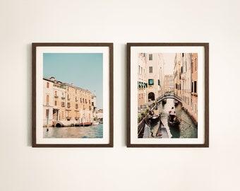 Ros\u00e9 Tint Printable Wall Decor Travel Photography Venetian Art Downloadable Photos Set of 2 Venice Canals Prints Gondola Ride