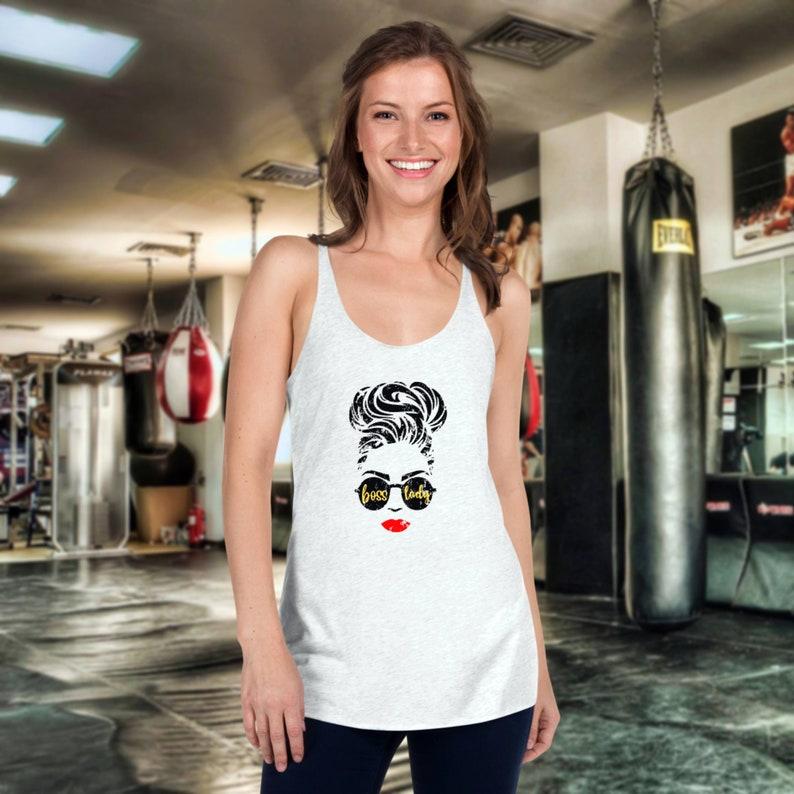Cute Yoga ShirtBoss Lady Tee RacerbackBoss Lady ShirtGirl Boss ShirtBoss ShirtGift for MomYoga Lover GiftBoss Lady Tshirt Racerback