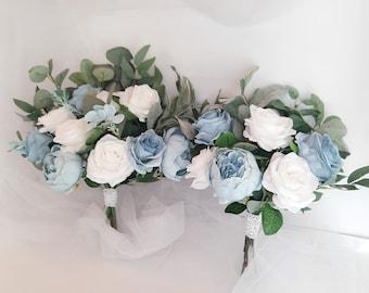 Dusty blue Bridal bouquet, Dusty blue wedding bouquet, Bridesmaid bouquet Bride bouquets, Boho bouquets, Boho wedding
