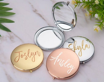Personalized Compact Mirror, Rose Gold Compact Mirror, Monogram Pocket Mirror, Bridesmaid Gift, Bridesmaid Proposal, Bachelorette Party Gift