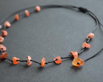 Carnelian necklace Carnelian choker necklace Adjustable necklace Natural Carnelian necklace Carnelian jewelry Gift for her Carnelian bead