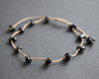 Anklet for Women Solid Brass Clasp Black Onyx Ankle Bracelet Beaded Anklet Black Anklet
