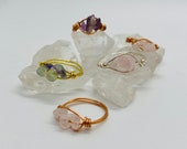 Handmade Intention Crystal 3 stone ring crystals rose gold gold silver Healing Crystal Meditation Crystals vegan