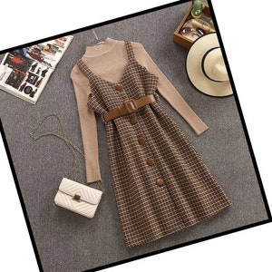 Vintage Style Dresses | Vintage Inspired Dresses Dark Academia Clothing Set Y2K Cottagecore Clothing Wool Cottagecore Clothing $82.17 AT vintagedancer.com