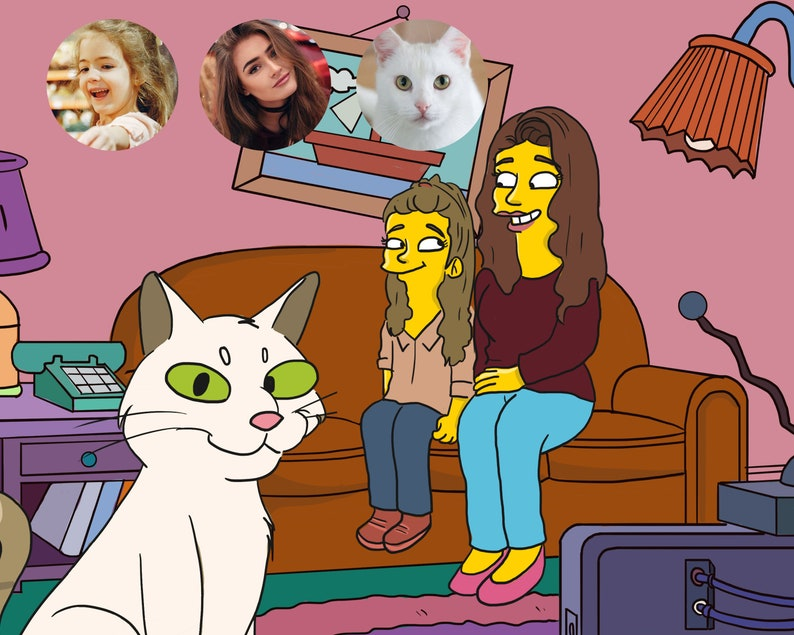 Couple Gift Simpsons Family Portrait Valentines Day Gift Boyfriend Girlfriend Gifts SIMPSONS PORTRAIT Simpsons Caricature The Simpsons