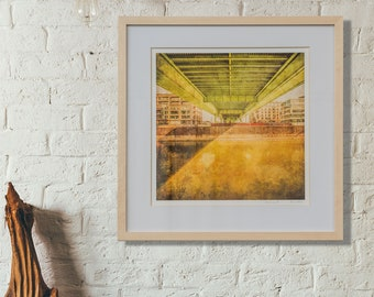 Cologne - Severinsbrücke - with marina, photography as fine art print