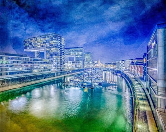 Cologne - Crane houses at night - with marina, photography as fine art print