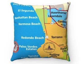 Palos Verdes Estates California MAP 90274 Spun Polyester Square Pillow