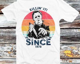 Michael Myers T shirt Tueur Halloween Horror Film T-shirt Effrayant Hommes Noir Tee
