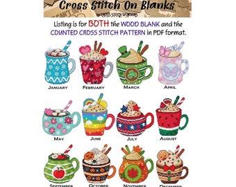 A Year Of Mugs, Chose month, Monthly, Cross Stitch Pattern included,Cross Stitch Blank, Stitchable Blank, Cross Stitch Wonders, Lunari Woods