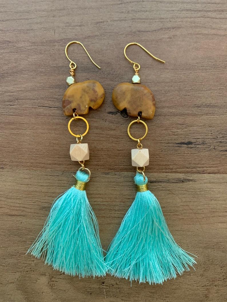 Boho Jasper Elephant Tassel Earrings
