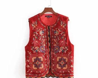 Vintage 60s 70s Embroidered Velvet Vest Floral Hippie Boho Black Velvet Long Vest Size Small Medium Folk Vest