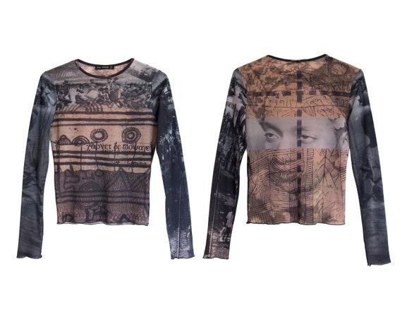 90s MESH TOP / 1990s - 2000s Long sleeve mesh top