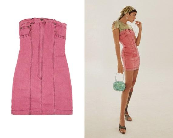 90s -2000s Plein Sud Pink Denim dress / Y2K  Strap