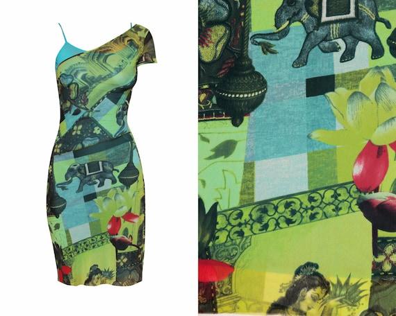 90s KENZO Mesh Dress / 1990S- 2000s Vintage asymme