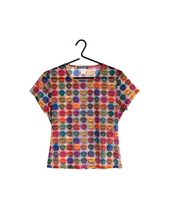 90s MESH TOP / 1990s - 2000s Short sleeve mesh top