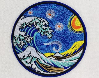 Patch   The Great Gulf at Kanagawa   Hokusai   Van Gogh   Mount Fuji   Waves   Ironable   Japanese   Ukiyo-e   Woodblock print   Fashion