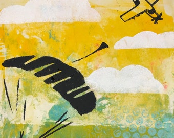 abstract parachuter with plane original gelli print on vintage book page