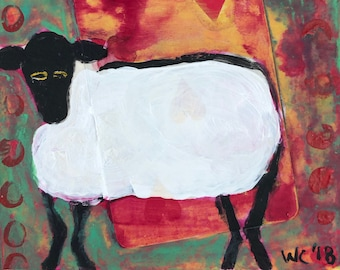 Sheep with heart original painting/collage on paper