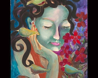 Peace With Birds reprint from original acrylic painting