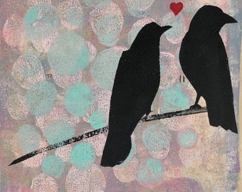 Love Birds original gelli print